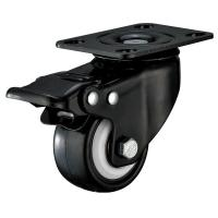 Cheap Small Furniture PU Caster Wheel With Swivel Plate Total Locking Black Bracket for sale