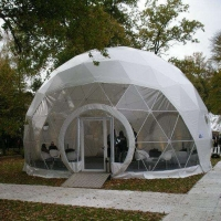 Cheap Outdoor Hotel Camping PVC 10m Geodesic Dome Tent With Door for sale