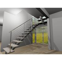 Cheap Stainless steel center stringer straight solid wood staircase with glass balustrade for sale