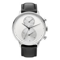 Cheap CD Grain Face Quartz Silver Stainless Steel Watch Sr626sw With Black Leather Strap for sale