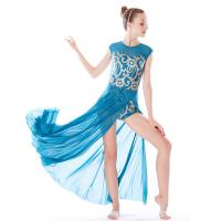 Cheap MiDee Best Sell Lyrical Dance Costumes Dresses Floral Sequins Leotard Cap Sleeves Leg Opening for sale