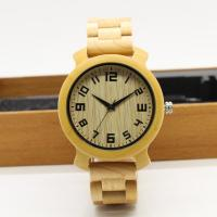 Cheap 2018 fashionable design maple wood band with butterfly buckle copper hands men wooden wristwatch with waterproof for sale
