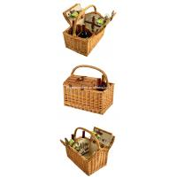 China Wholesale Cheap Willow Wine Hamper Wicker Empty Picnic Basket with Service for 2 on sale