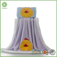 Cheap Binding Purple Flannel Baby Blanket With Customized Embroidery Logo for sale