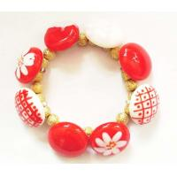 China Charm Red Handcarft Glass Elastic Bead Bracelet , 7.5' Stretch Jewelry on sale
