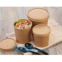 Cheap paper soup cups with paper lids hot soup kraft paper cup,disposable kraft paper soup cup with paper lid,bagease package for sale