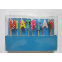 Cheap Multi Colour Happy Birthday Toothpick Letter Cake Candles Stick Shape With Polka Dots for sale