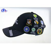 Quality Personalized Black Cotton Custom Baseball Caps with Embroidery Logo for ICC Cricket Wolrd Cup wholesale