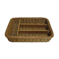 Eco Friendly Divided Rattan Cutlery Basket In Dark Brown Not Fade With Certificate Of Rattan