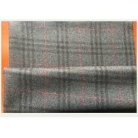 Cheap Gray Tartan Fabric 50 Wool 50 Polyester , Black And Red Plaid Fabric750 G / M for sale