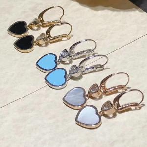 Cheap 18K Gold Chopard Jewelry , Chopard Happy Diamond Heart Earrings With Gems for sale