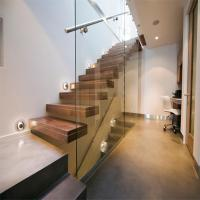 Cheap Build Floating Stair with glass wall for sale