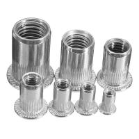 Buy cheap Zinc Plated Carbon Steel Blue White Knurled Body Rivet Nut Flat Head Threaded from wholesalers