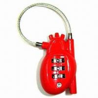 Cheap 3 digits heart shape combination lock with cable for sale