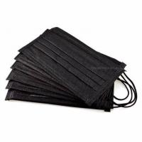 Cheap Black Color 3 Ply Non Woven Face Mask Lint Free High Filtration Efficiency for sale