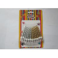 Cheap Disposable Golden Silver Birthday Candles , Spiral Pillar Happy Birthday Cake Candles for sale