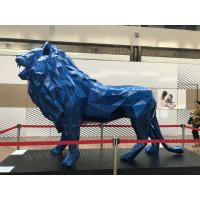 Cheap Blue Metal Animal Sculptures , Customized Metal Lion Statue With 100% Hand Carved for sale
