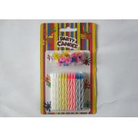 Cheap Multi - Colored Decorative Spiral Taper Striped Birthday Candles With 24 Pcs/Set for sale