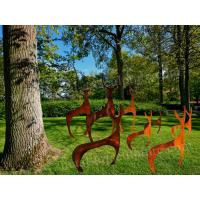 Cheap Abstract Art Deer Sculpture Rust Corten Steel Sculpture As Outdoor Decoration for sale