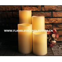 Cheap Modern Straight Edge LED Flameless Candle , Flickering White LED Pillar Candles for sale