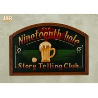 China Dark Green Club Wooden Wall Signs Antique Wall Art Signs Golf Club Wall Decor on sale