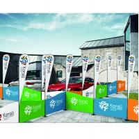 Portable Type Fabric Trade Show Displays With Flag Carrying Bag Railing Shape