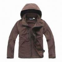Cheap Men's Soft Shell Jacket with Adjustable and Detachable Hood for sale