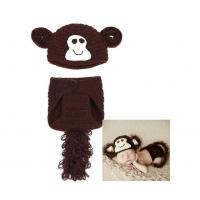 China Free Shipping Soft Short Crochet Newborn Baby Photography Props Knitted Monkey Infant Photo Headbands on sale