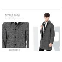 Cheap Twill Wool Fabric Winter Coat Male Black/Gray Medium to Long Single Button for sale