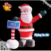 2m Oxford Christmas Inflatable Santa Claus with Sign for Christmas Decoration