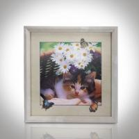 Cheap CMYK 3D Lenticular Pictures With MDF Frame Cat Design Decorative Printing for sale