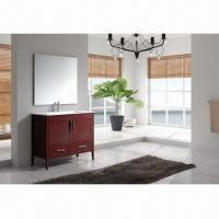 China 36 inches cherry American style solid wood single sink bathroom vanities with mirror on sale