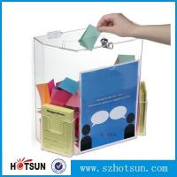 Cheap Innovative Wall Mount Donation Box with Lock and Key, Clear Acrylic Charity Box Donation for sale