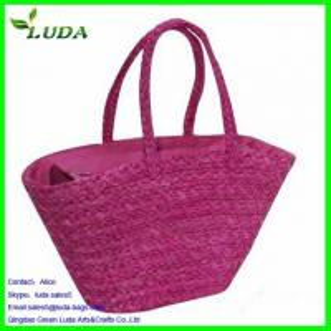 Cheap Bright Purple Straw Handbag for sale