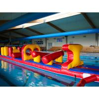Cheap 54 FT Long Giant Water Inflatable Obstacle Course With Slide Durable 0.9mm PVC for sale