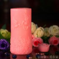 Cheap lovebird LED candles,wedding candles,hand carved candles,pink pillar candles,craft candle for sale