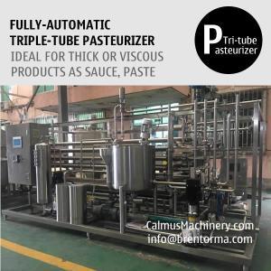 Cheap 3000L/H Triple-Tube Heat Exchanger Tubular Sterilizer Sauce Paste Puree Pasteurizer for sale