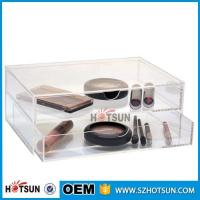 Cheap Diamond Handle Clear Acrylic Makeup Organizer, Acrylic Makeup Drawer Box, Flip Cover Acrylic Cosmetic Storage Boxes for sale