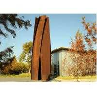 Anti Corrosion Garden Art Corten Steel Sculpture Column Shape Rusty Finish