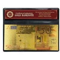Euro 50 Banknotes 24K Gold , Paper Money With COA Frame Decoration Gift