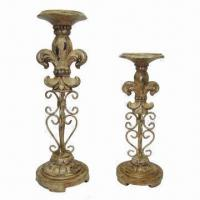 Cheap 2-pillar Candle Holders, Made of Polystone and Metal, with FDL Design for sale