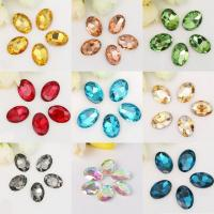 China Plane Back Oval K9 Glass Glue On Shaped Rhinestones Crystal Diamond Handiwork Textile Bags Fabric Accessories Trimmings on sale