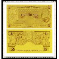 Cheap Engraved Old AUD Gold Banknote 5 AUD 24K Gold Foil Plated,Best Gift For Business for sale