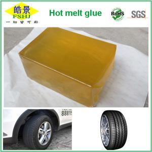Cheap Heat Resistant PSA Hot Melt Adhesive For Tyre , Yellow Block Shape wholesale