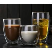China Handmade blown Clear healthy high borosilicate material heat-resistant double wall beer glass on sale