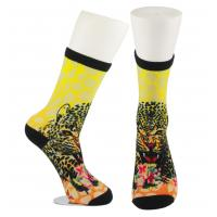 Quality Yellow Anti Slip Custom Printed Socks , Eco - Friendly Soft Cute Printed Socks wholesale
