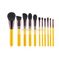 Cheap Yellow Handle Stylish Makeup Brush Collection Kit For Basic Daily Application for sale
