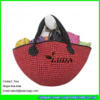 Cheap red color lady straw tote bags crochet raffia bags for sale