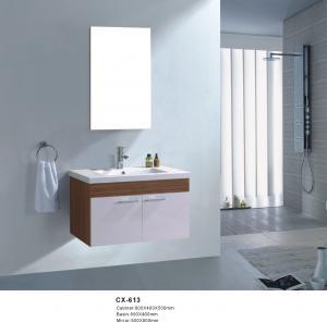 China 80cm Wide Pvc Bathroom Vanity Cabinet / Wall Mount Bathroom Sink Vanity on sale
