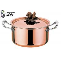 Cheap Polished Round European Copper Pot 3-Ply Cookware For Restaurants for sale
